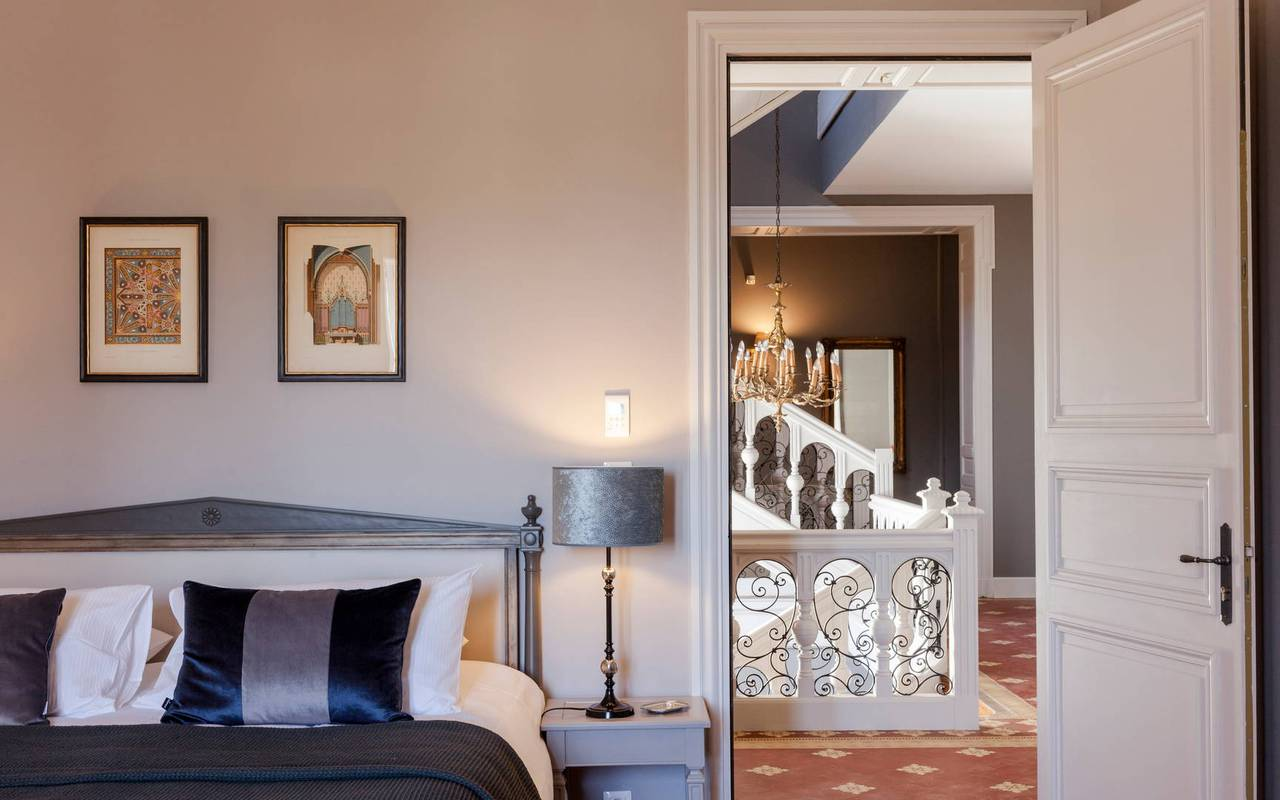 View of the room and the corridor, in our hotel in Languedoc, Château de Serjac.