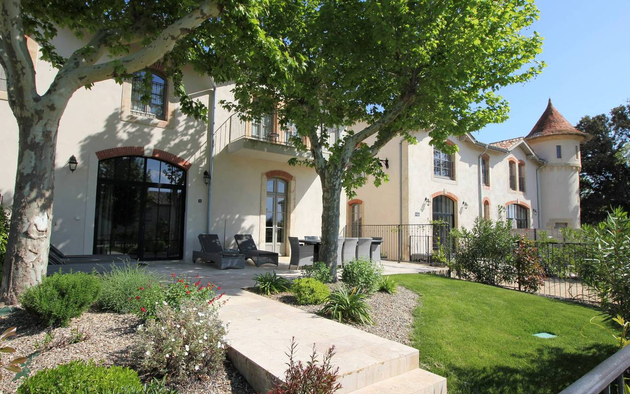 Outside our luxury self catering and its garden in Languedoc, Château St Pierre de Serjac.