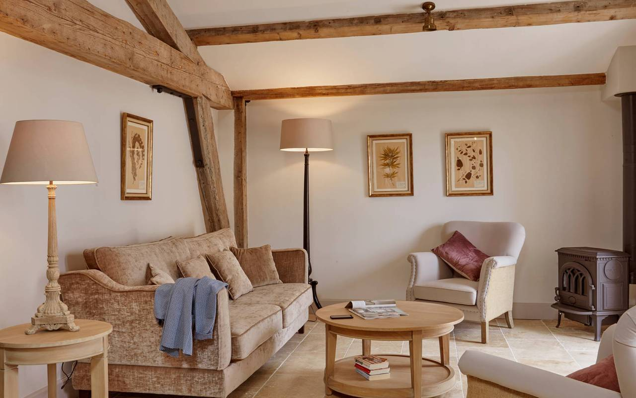 Beautiful living room in  La Cave, in one of our luxury self catering in Languedoc, Château St Pierre de Serjac.