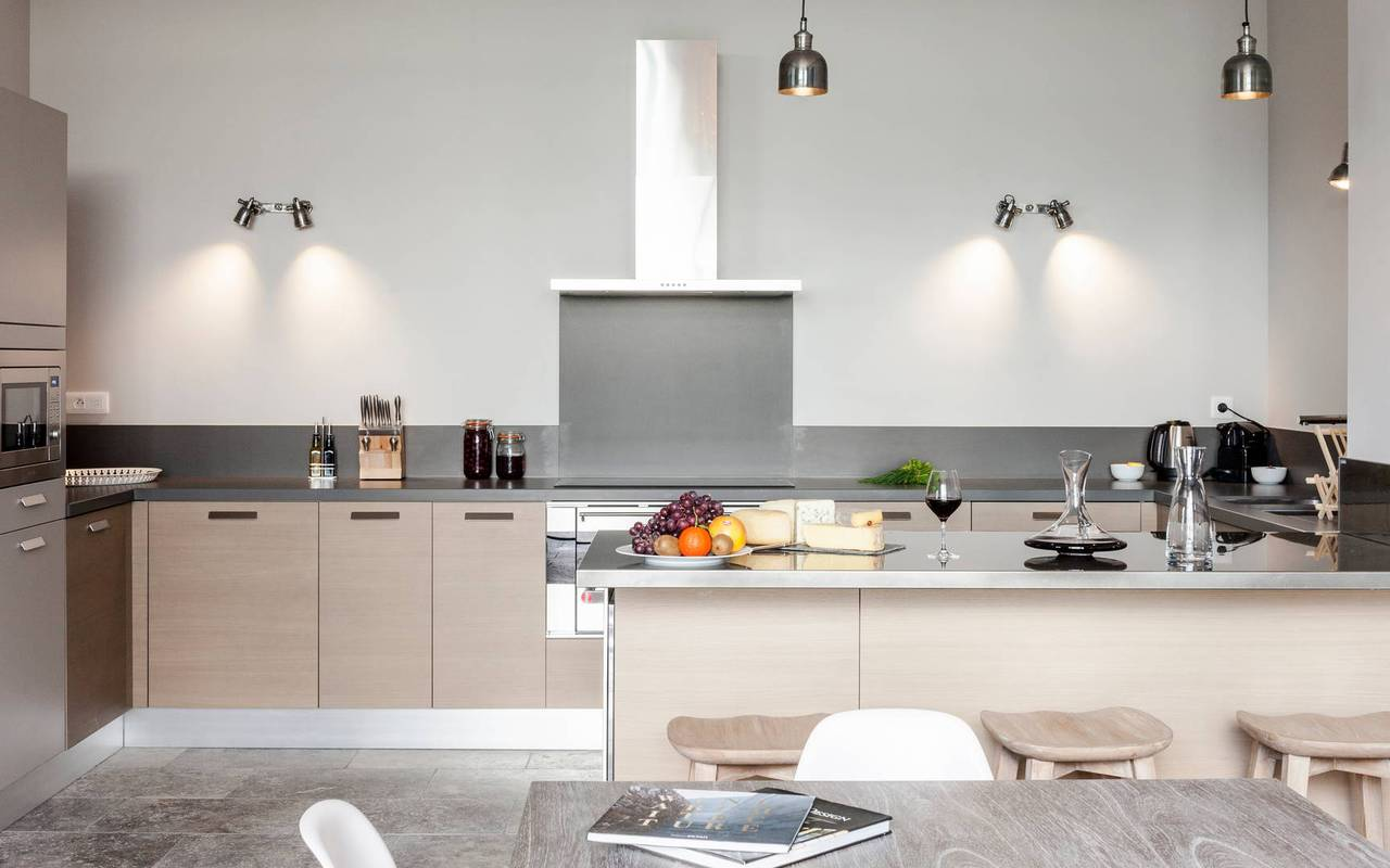 Spacious modern open kitchen in our  luxury self catering villa in Languedoc, Château St Pierre de Serjac.
