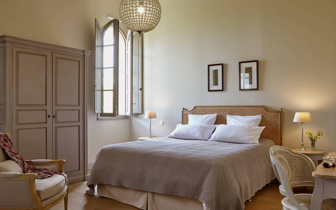 View of the bedroom of La Maison des Vignerons,  in our  luxury self catering in Languedoc, Château St Pierre de Serjac.