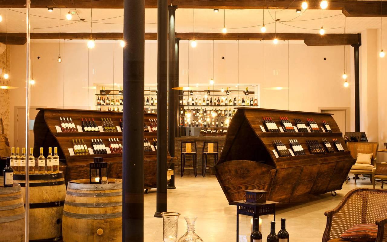 Wine cellar of the domain Château St Pierre de Serjac, wine tours in Languedoc.