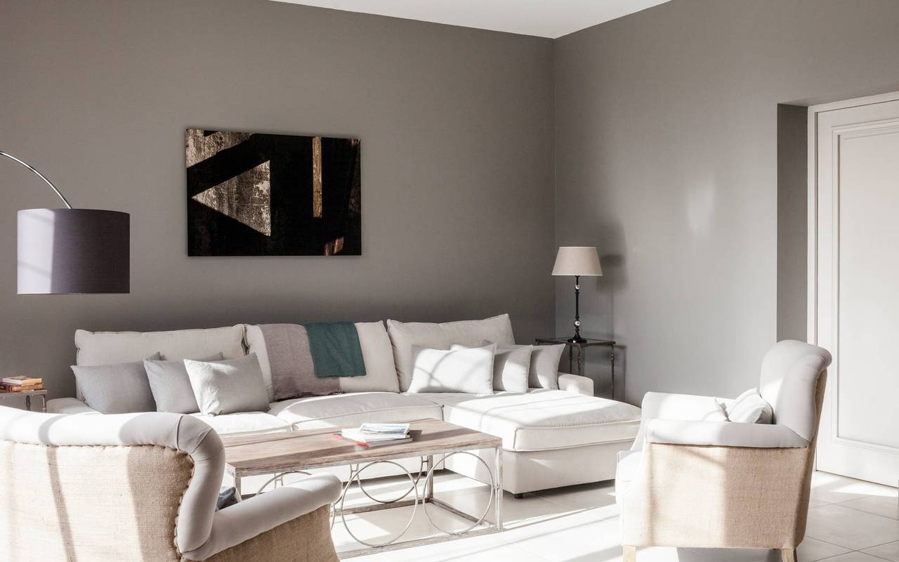 Modern living room in one of our luxury self catering in Languedoc, Château St Pierre de Serjac.
