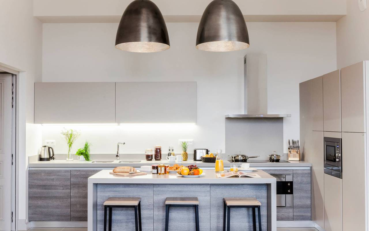 Spacious modern kitchen in one of our luxury self catering in Languedoc, Château St Pierre de Serjac.