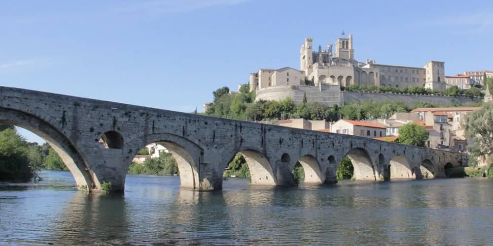 View of Béziers and the bridge,close to our hotel spa near Pézenas, Château St pierre de Serjac.