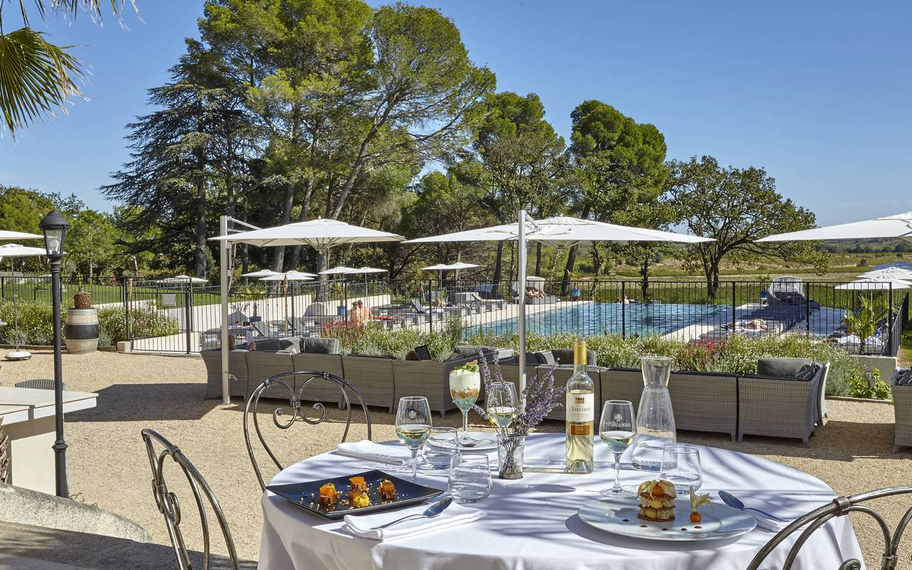 Lunch on the terrace of the Château St Pierre de Serjac, Languedoc holiday homes.