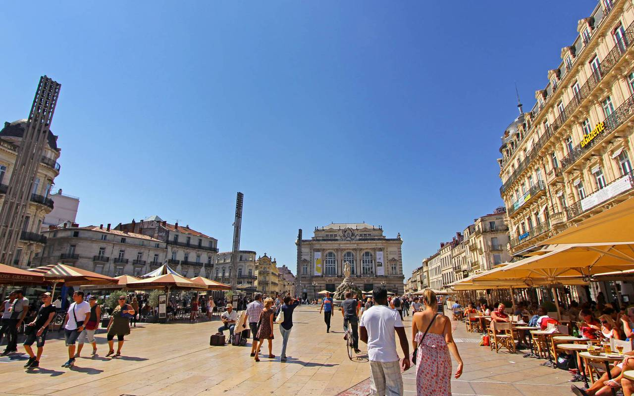 Place de la Comédie in Montpellier, close to the Château de Serjac, weekend in the south of France.