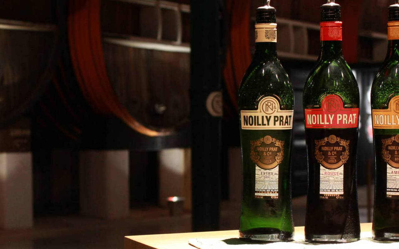 Noilly Prat bottles in the Château de Serjac, weekend in the south of France.