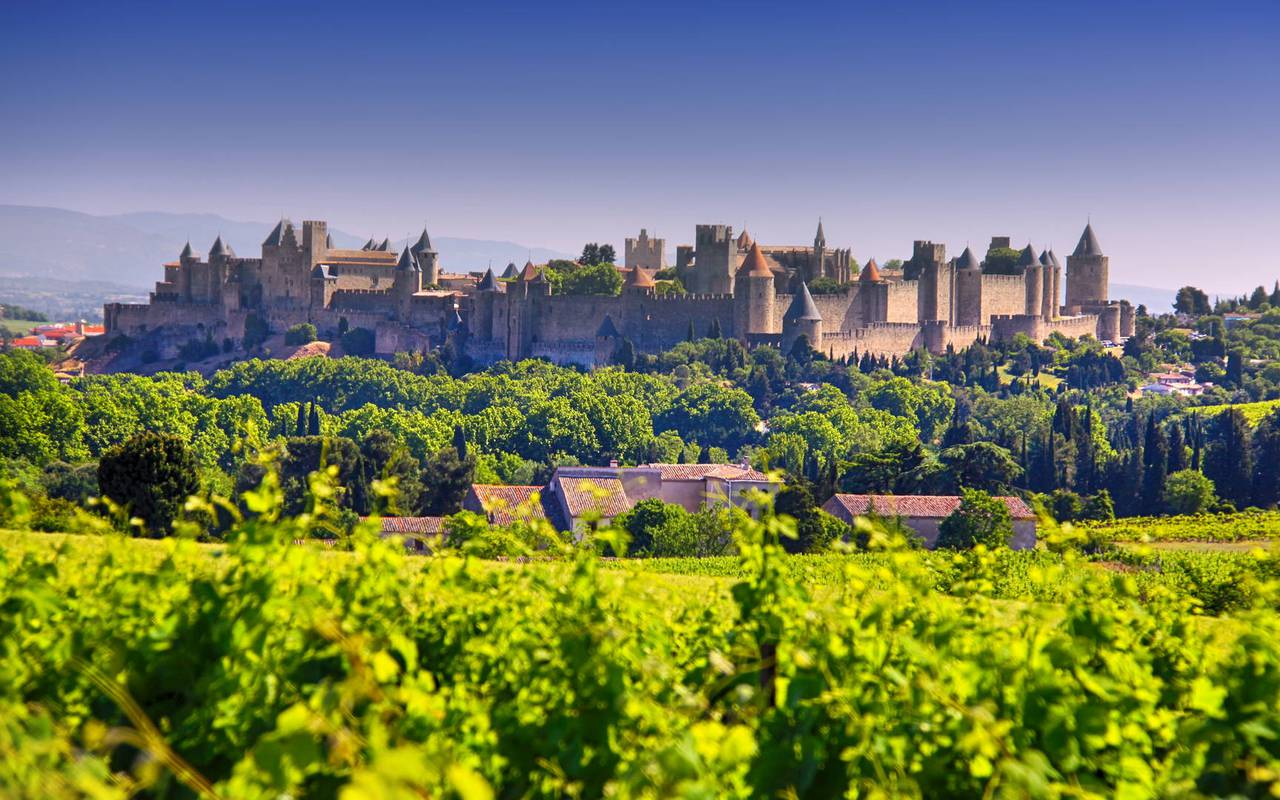 View of Carcassonne, close to the Château de Serjac, weekend in the south of France.