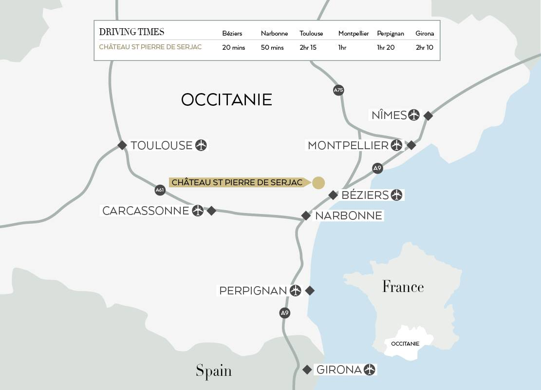 Map of Occitanie to come to the Château de Serjac, a luxury hotel in the south of France