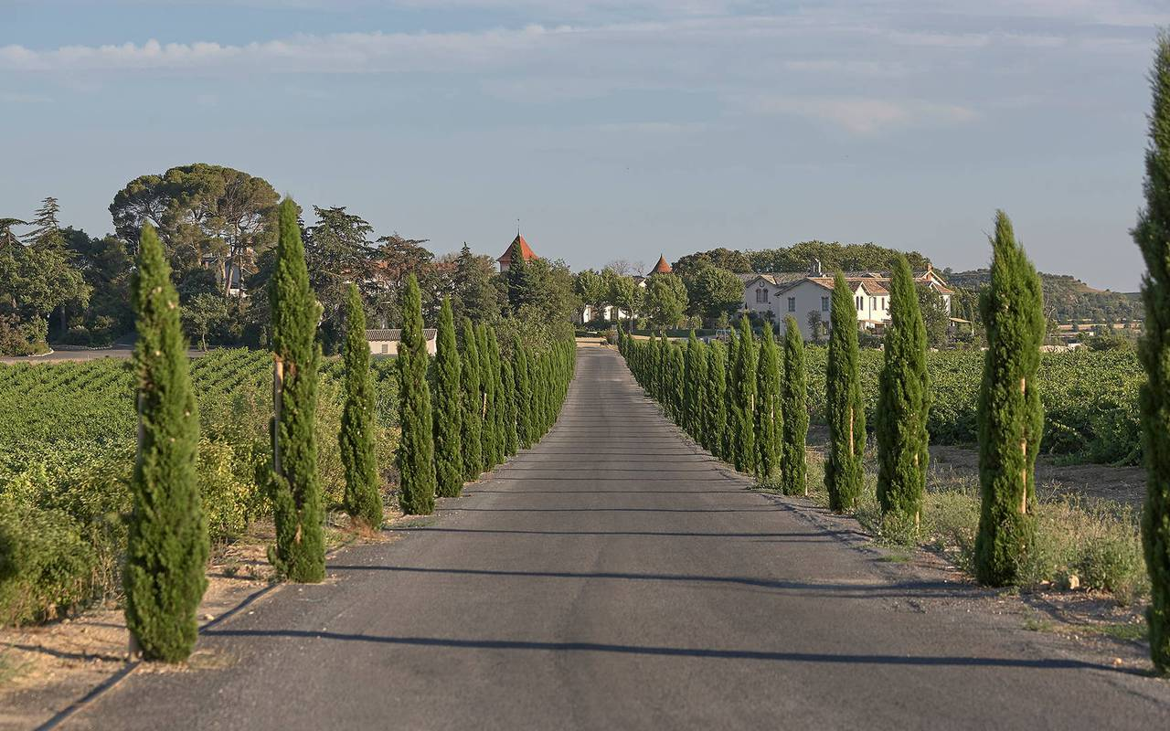 Road going to the Château de Serjac, a luxury hotel in th south of France