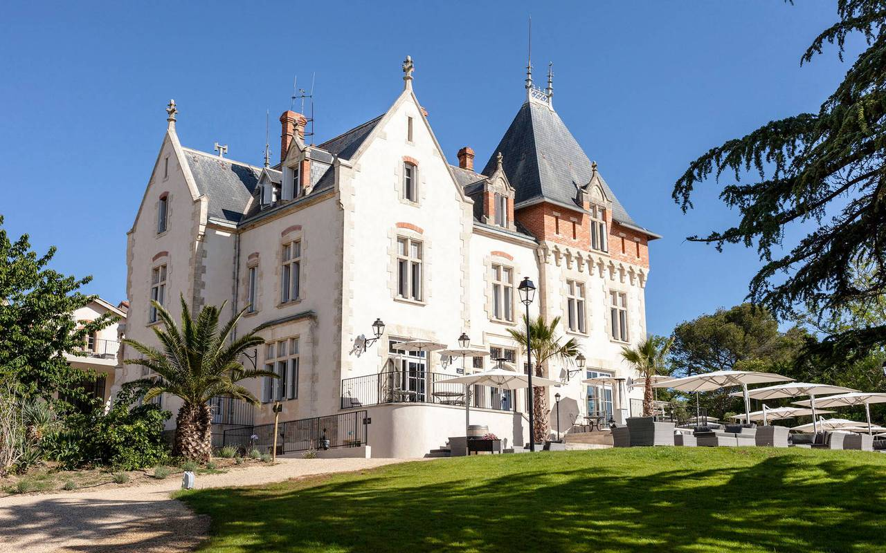 Exterior of the Château de Serjac, a luxury hotel in th south of France