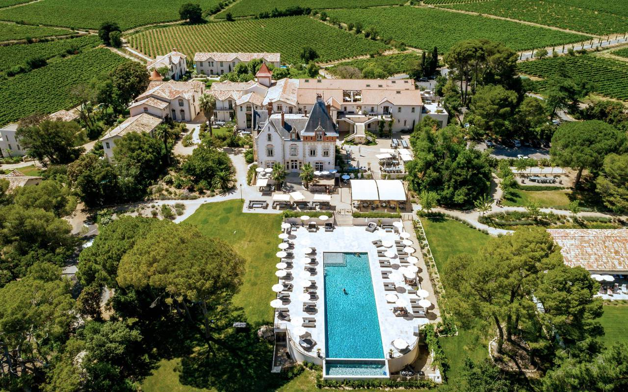 Aerial view of Le Château de Serjac, hotel and luxury self catering in Languedoc