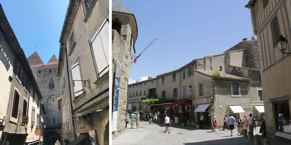 Rues de Carcassonne, à proximité de notre b&b près de Pézenas, Château St pierre de Serjac