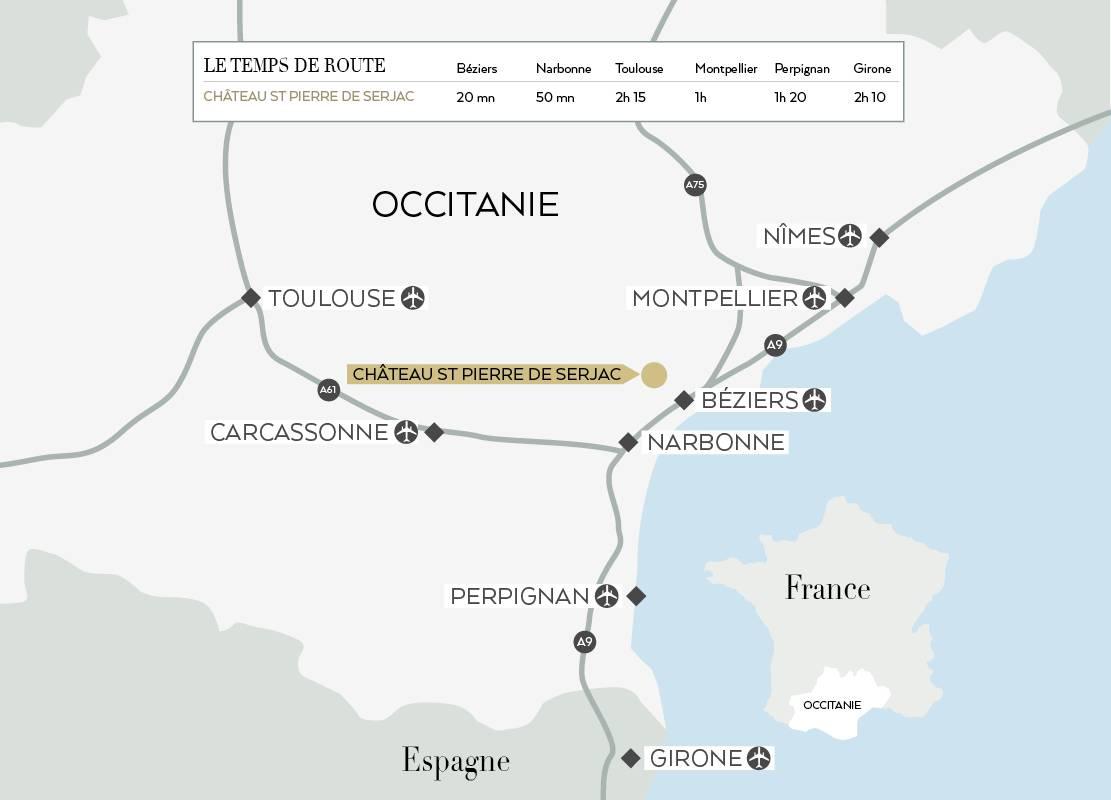 Carte de l'Occitanie pour venir au Château de Serjac, hôtel et spa en Occitanie.