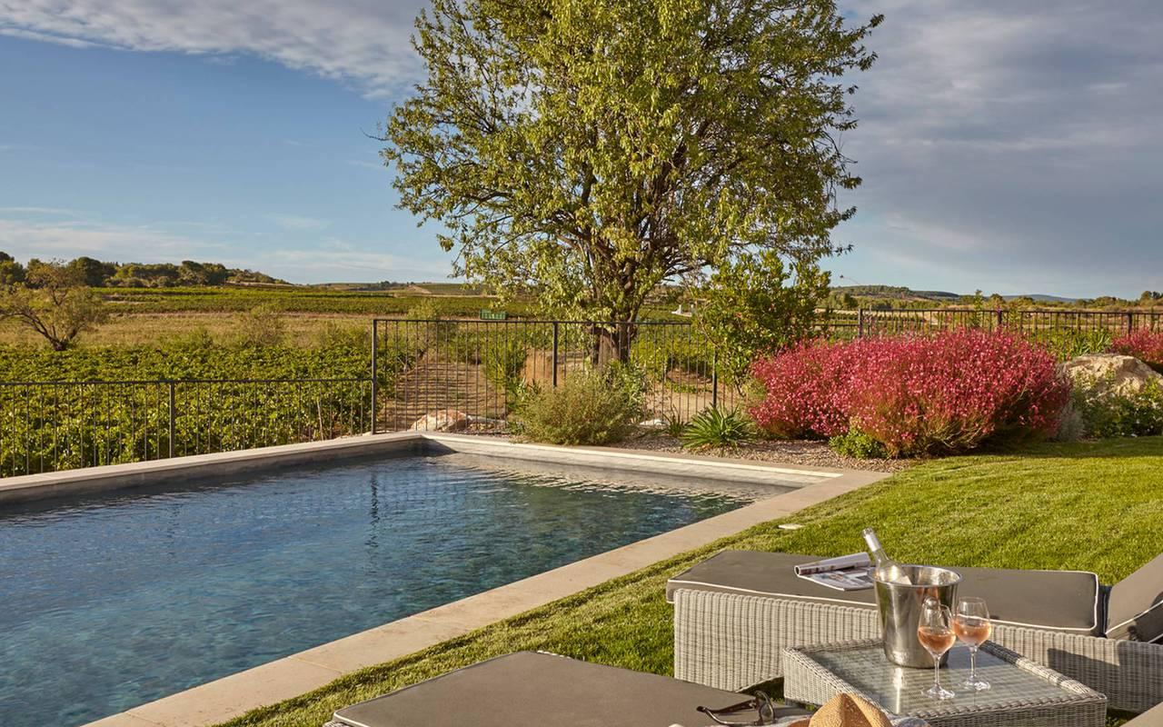 Piscine avec vue sur les vignes, dans notre hôtel spa en Occitanie, Château de Serjac.